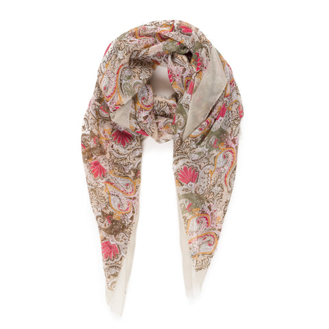 Spanish Design Printed Viscose Scarf (Beige Spanish Pattern) - Melifluos