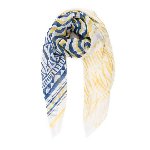 Spanish Design Printed Viscose Scarf (Yellow Blue Wave) - Melifluos