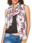 Spanish Design Printed Viscose Scarf (White Paisley) - Melifluos