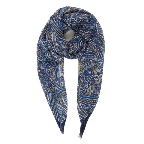 Spanish Design Printed Viscose Scarf (Navy Paisley)