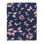 Spanish Design Printed Viscose Scarf (Navy Butterfly)