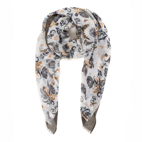 Spanish Design Printed Viscose Scarf (Black Paisley)