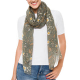 Spanish Design Printed Viscose Scarf (Taupe Flower)