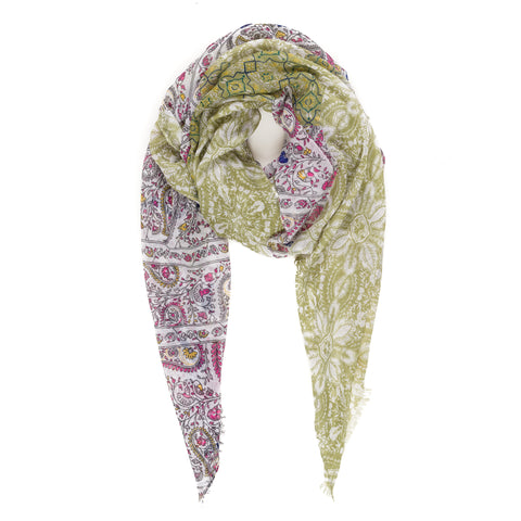 Spanish Design Printed Viscose Scarf (Green Geometric)