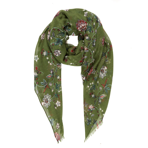 Spanish Design Printed Viscose Scarf (Green Floral)