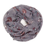 Spanish Design Printed Viscose Scarf (Gray Floral Chintz)