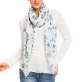 Spanish Design Printed Viscose Scarf (White Flower)