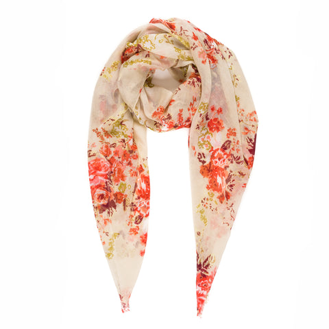 Spanish Design Printed Viscose Scarf (Beige Flower)