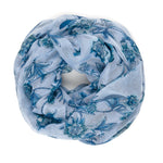 Spanish Design Printed Viscose Scarf (Blue Flower)