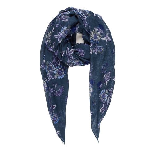 Spanish Design Printed Viscose Scarf (Navy Chintz)