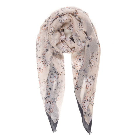 Spanish Design Printed Viscose Scarf (Mauve Flower)