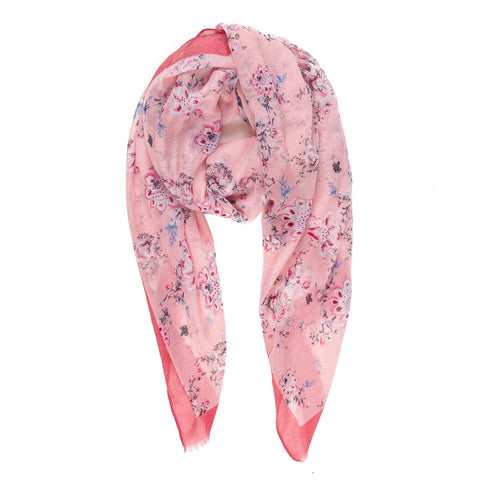 Spanish Design Printed Viscose Scarf (Pink Flower)