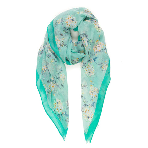Spanish Design Printed Viscose Scarf (Aqua Flower)