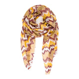 Spanish Design Printed Viscose Scarf (Yellow Zig Zag) - Melifluos
