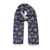 Spanish Design Printed Viscose Scarf (Blue Flower Plants)