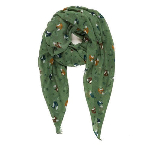 Spanish Design Printed Viscose Scarf (Green Fox)