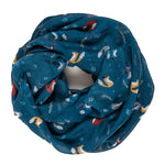 Spanish Design Printed Viscose Scarf (Blue Fox)