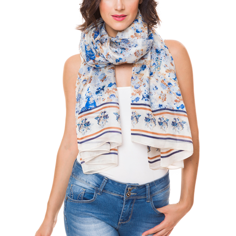 100% Silk Spanish Design Scarves (Blue Floral) - Melifluos