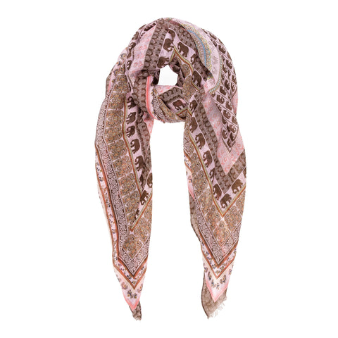 Spanish Design Printed Viscose Scarf (Pink Geometric Elephants)