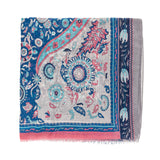 Spanish Design Printed Viscose Scarf (Navy Blue Paisley) - Melifluos