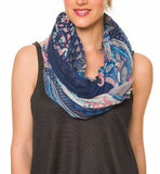 Spanish Design Printed Viscose Scarf (Blue Geometric Paisley)
