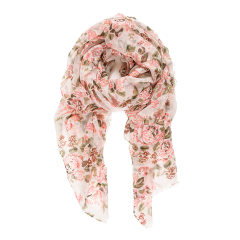 Spanish Design Printed Viscose Scarf (Beige Rose)