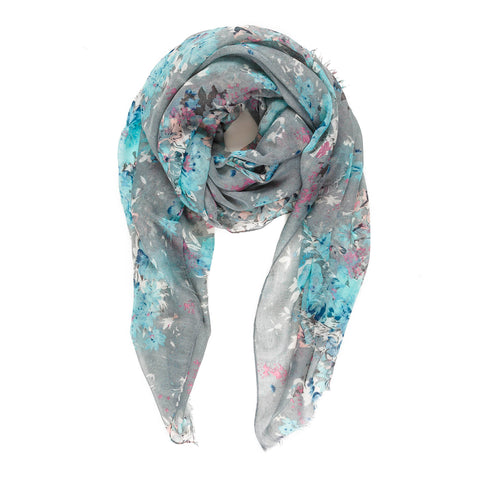 Spanish Design Printed Viscose Scarf (Gray Floral)