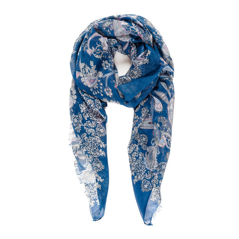 Spanish Design Printed Viscose Scarf (Blue Paisley)