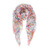 Spanish Design Printed Viscose Scarf (White Colorful  Paisley) - Melifluos