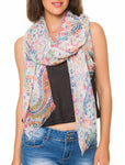 Spanish Design Printed Viscose Scarf (White Paisley)