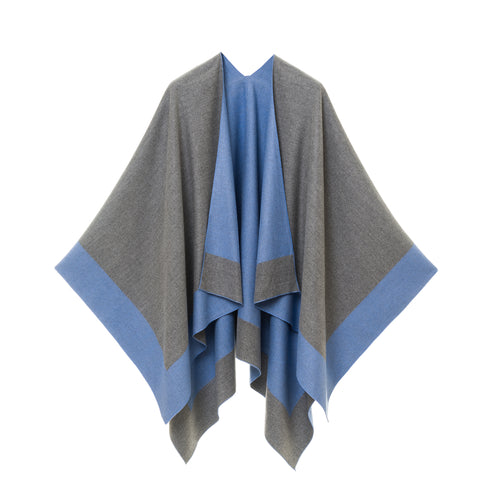 Cardigan Poncho (Gray Dark Blue) - Melifluos