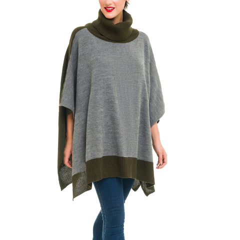 Turtleneck Cardigan Poncho (Gray Green) - Melifluos