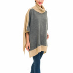 Turtleneck Cardigan Poncho (Gray Beige) - Melifluos