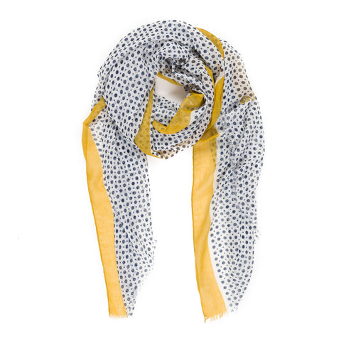 Spanish Design Printed Viscose Scarf (Yellow Polka Dots)