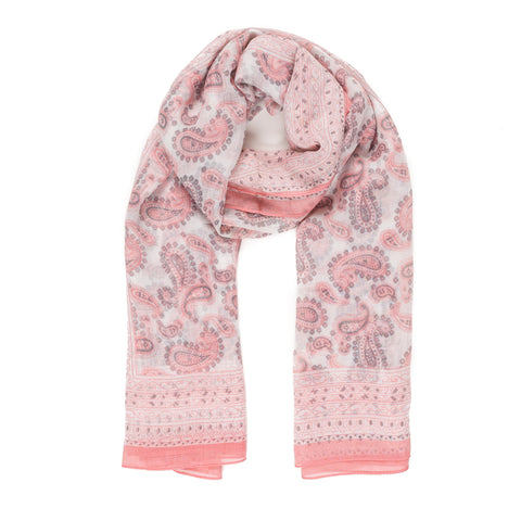 Spanish Design Printed Viscose Scarf (Pink Paisley)