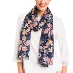 Spanish Design Printed Viscose Scarf (Navy Floral Chintz)