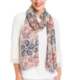 Spanish Design Printed Viscose Scarf (Beige Paisley)
