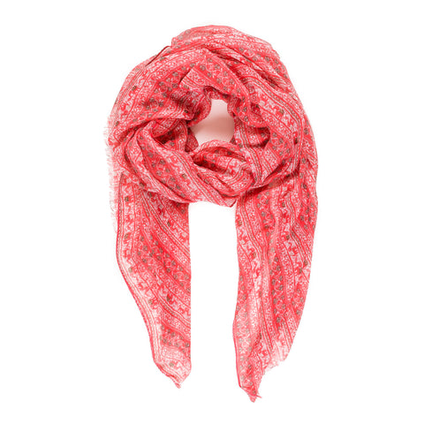 Spanish Design Printed Viscose Scarf (Coral Elephant) - Melifluos