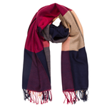 Winter Viscose Plaid Scarves (Navy Beige) - Melifluos