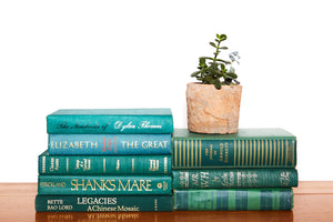 Green Decorative Books Sold by the Foot for Shelf Decor - Decades of Vintage