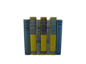 Vintage Book Set in Shades of Blue and Yellow, S/7 - Decades of Vintage