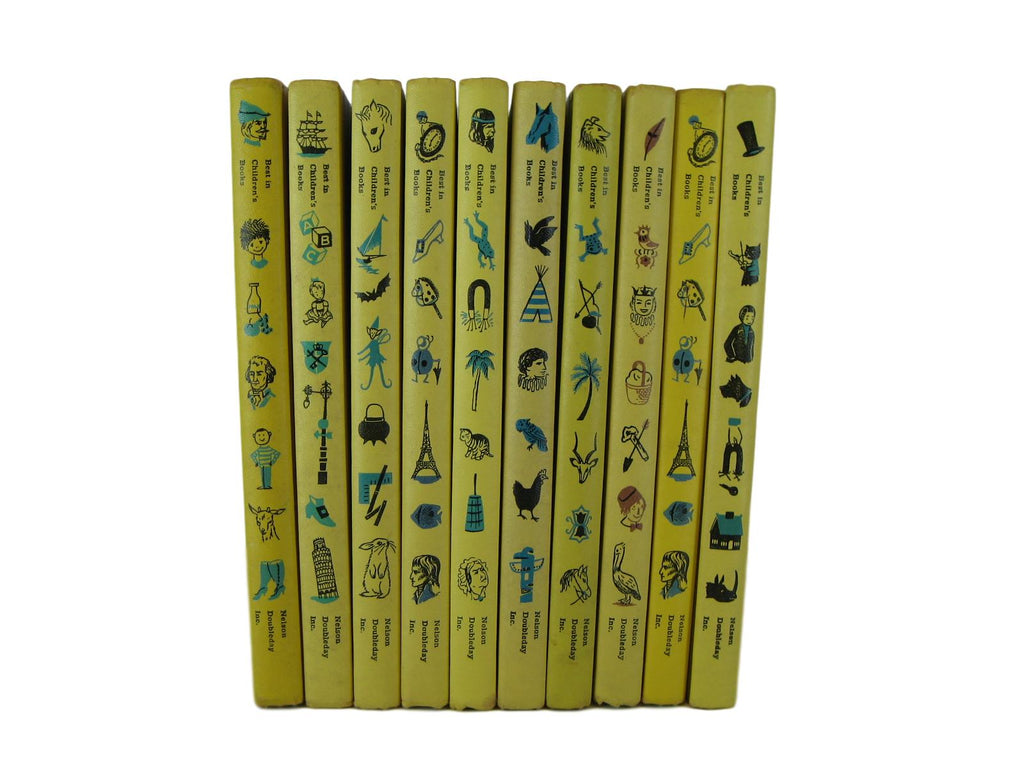 Vintage Books in Yellow for Children's and Nursery Decor, S/10, [decorative_books], Decades of Vintage
