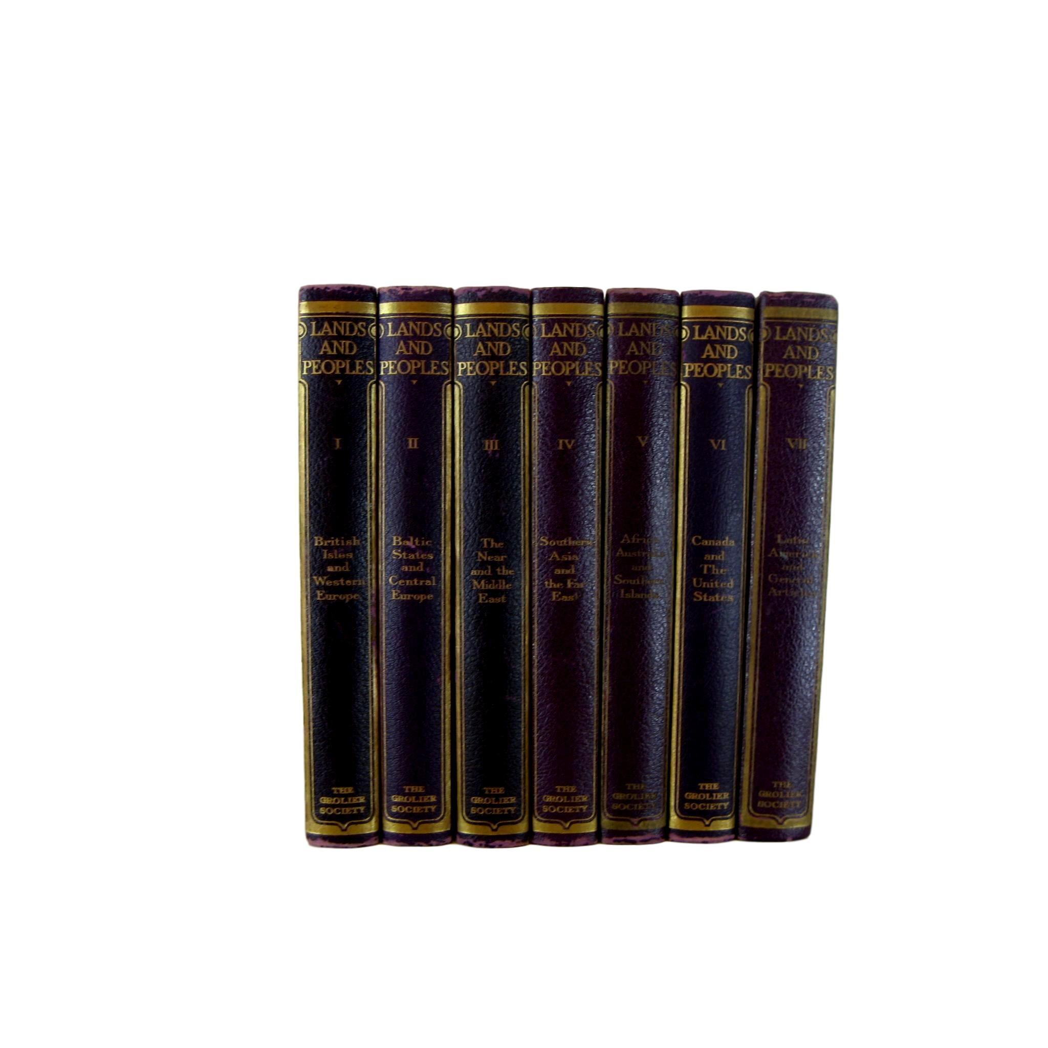 Purple Nursery Decor Vintage Decorative Book Set of Grolier Society's Lands & Peoples, S/7 - Decades of Vintage
