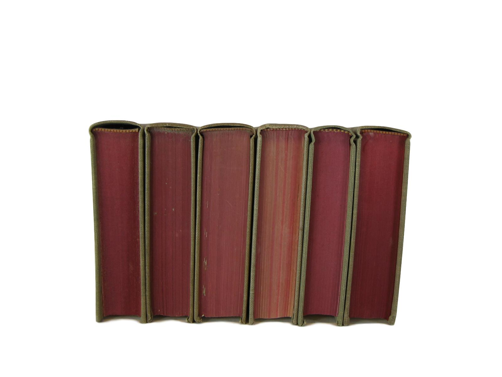 Vintage Books for Bookshelf Decor  in Red and Neutral Tones, S/6, [decorative_books], Decades of Vintage