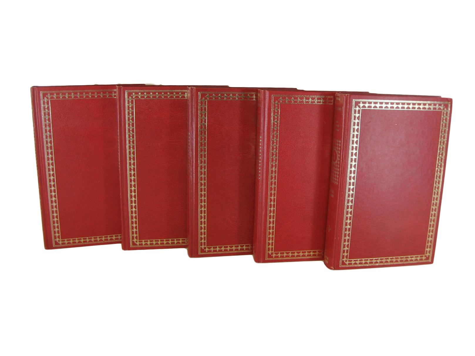 Red Decorative Books for Bookshelf Decor, S/5 - Decades of Vintage