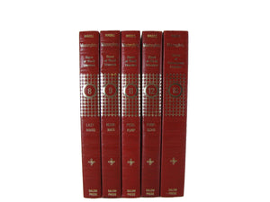 Red Decorative Books for Bookshelf Display, S/5 - Decades of Vintage