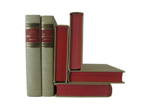 Vintage Classic Club Books for  Home Decor  in Red and Oatmeal, S/6, [decorative_books], Decades of Vintage