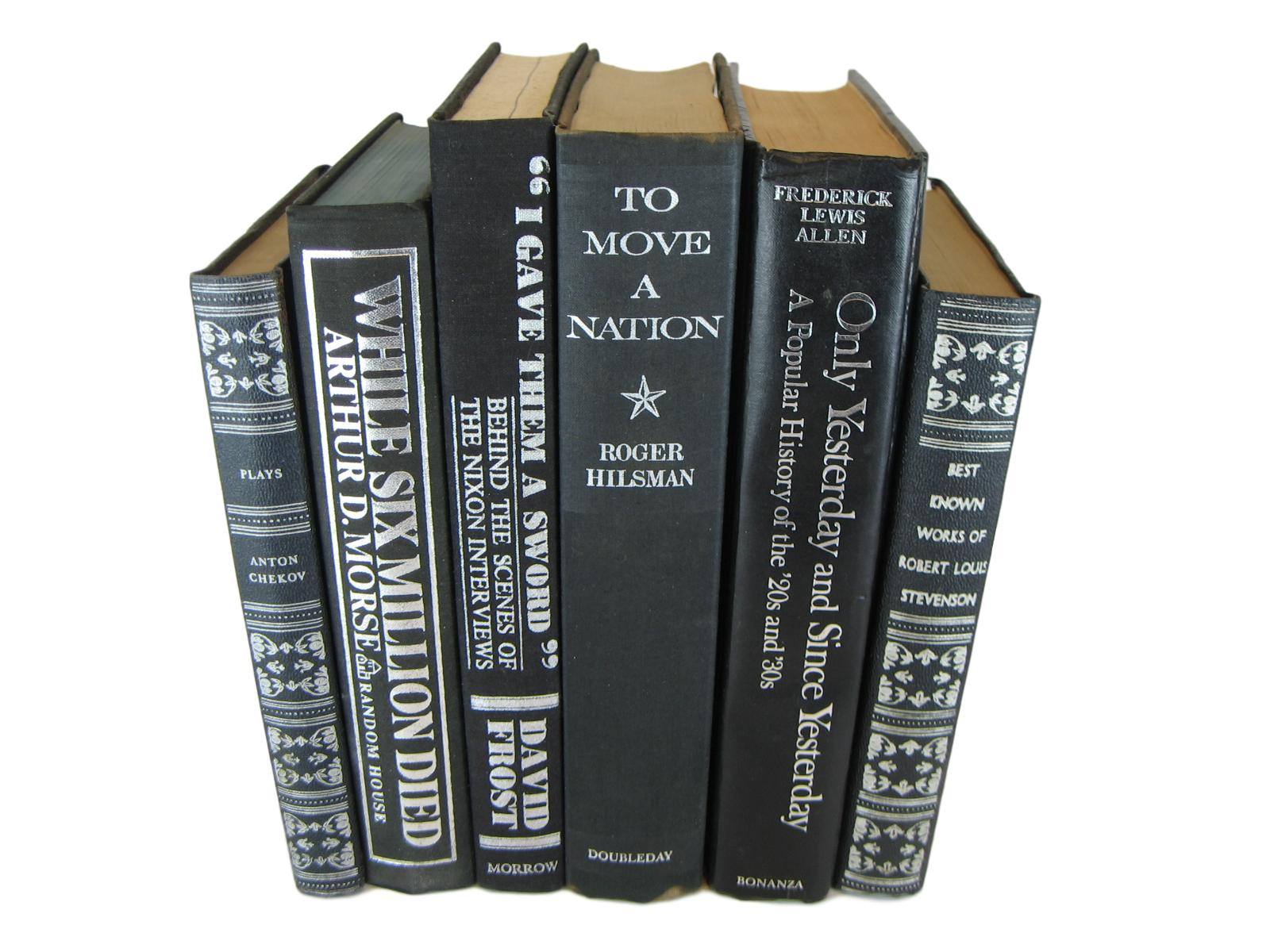 Black Vintage Books for Bookshelf Decor, S/6 - Decades of Vintage