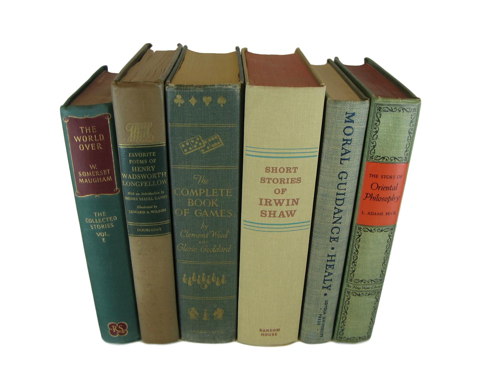 Decorative  Book Stack of Green and Neutral Books, S/6 - Decades of Vintage