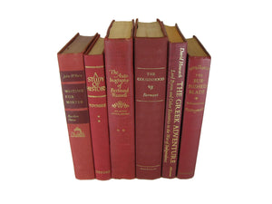 Red Decorative Books, Vintage Books for Decor, S/6 - Decades of Vintage